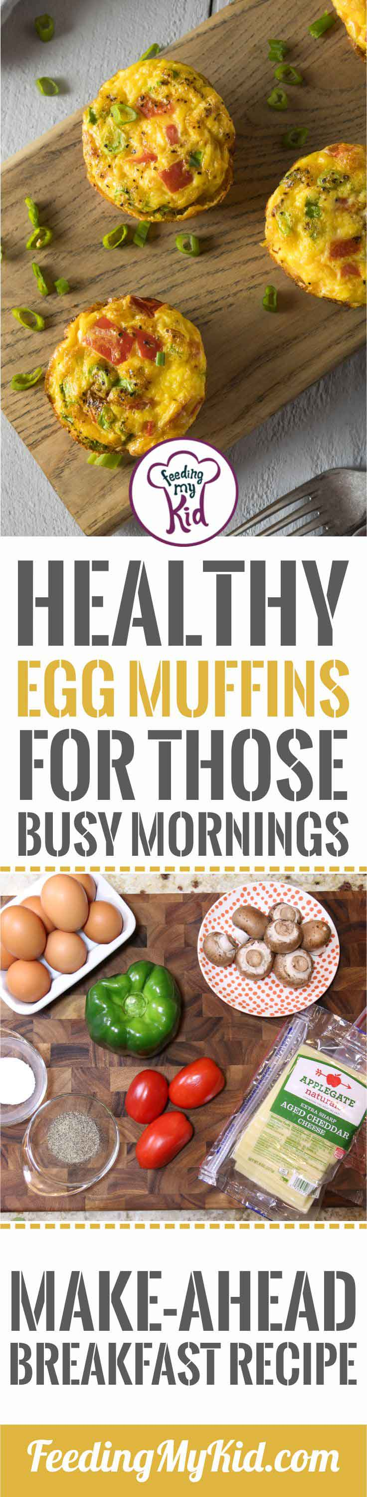These egg muffins are so easy to put together. Prep the night before, and grab and go in the morning. An easy and healthy breakfast!