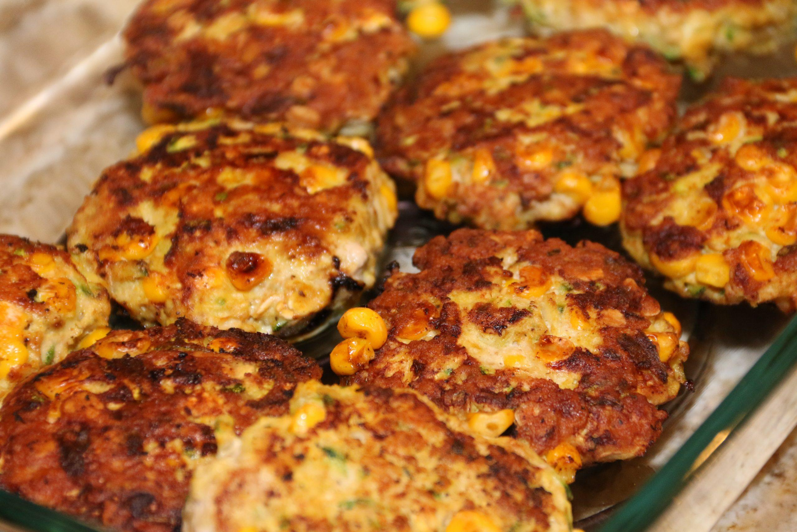 These chicken patties are filled with a healthy dose of zucchini and corn! Make them ahead of time for an easy lunch for the whole week.