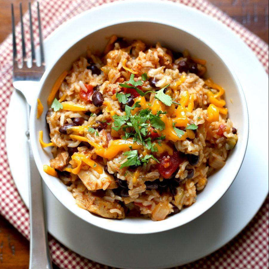 Pressure-Cooker Chicken, Black Bean And Rice Burrito Bowls
