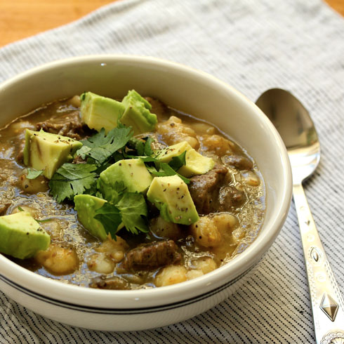 Pressure cooker (or stovetop) pozole verde beef stew