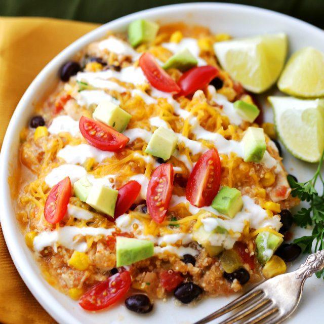 Crock Pot Salsa Chicken Quinoa Casserole