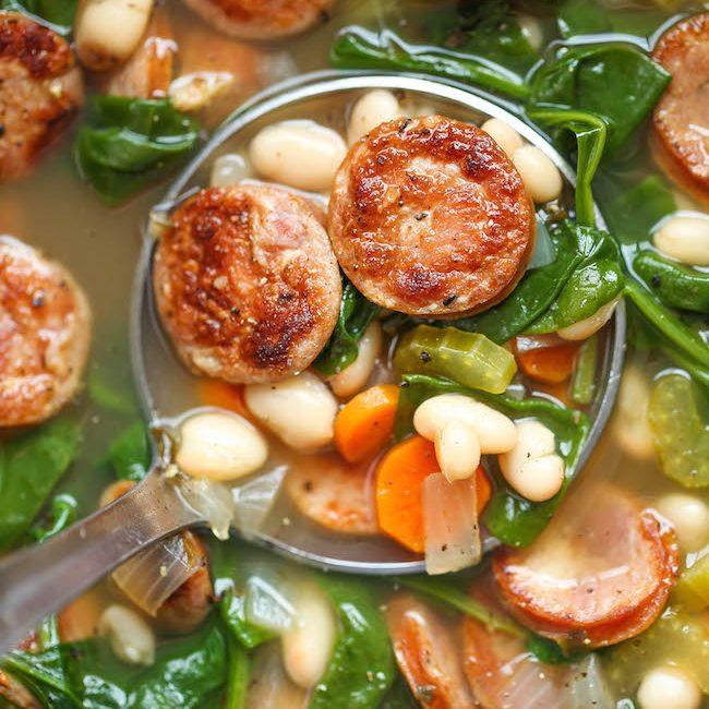 Slow Cooker Sausage, Spinach And White Bean Soup