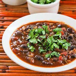 Slow Cooker Vegetarian Black Bean and Rice Soup with Lime and Cilantro