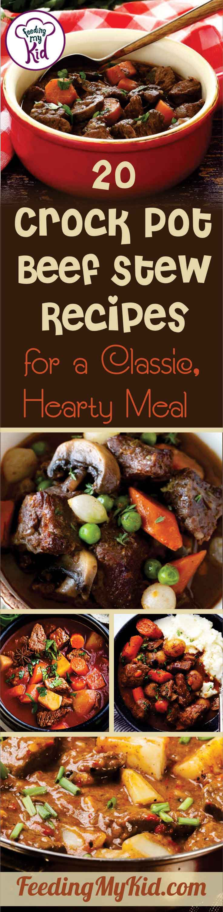 Classic beef stew in a crock pot! These crock pot beef stew recipes are hearty and filling after a long day. Super easy in your slow cooker!