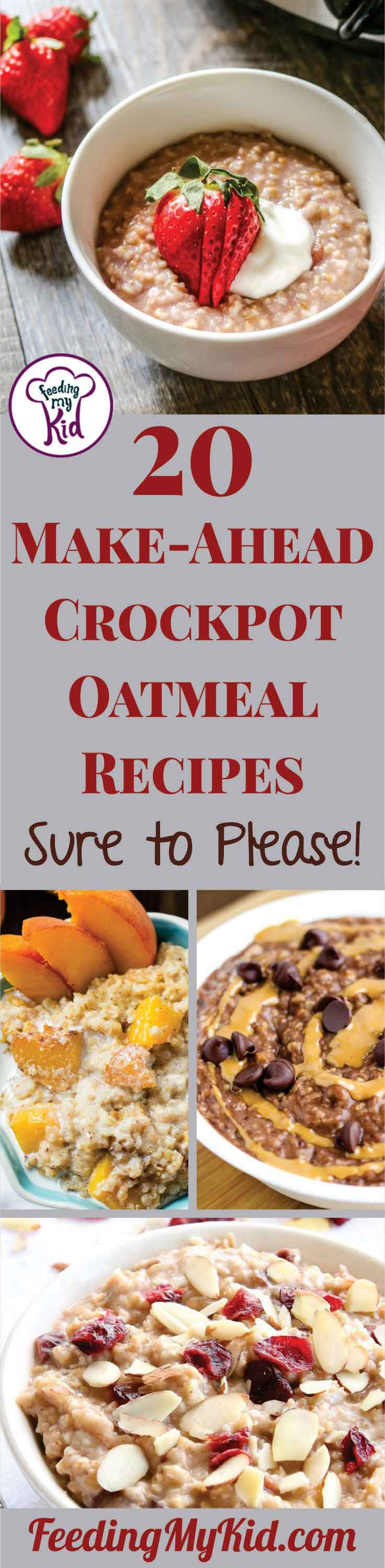 Feeding a crowd? These crockpot oatmeal recipes are sure to please! Perfect for make ahead and weekly meal prep. Super simple and healthy.