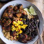 Cuban Chicken and Black Bean Quinoa Bowls with Fried Bananas
