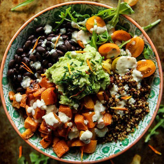 Cuban Quinoa Bowl With Spicy Lemon Cashew Dressing
