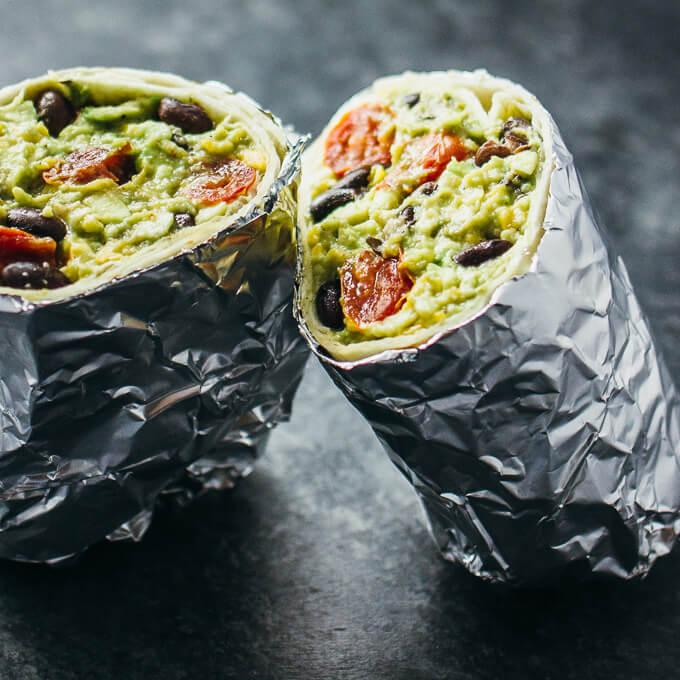 Guacamole Burrito With Balsamic Roasted Tomatoes And Black Beans