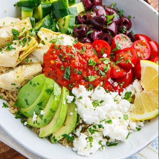 Mediterranean Quinoa Bowls with Romesco Sauce