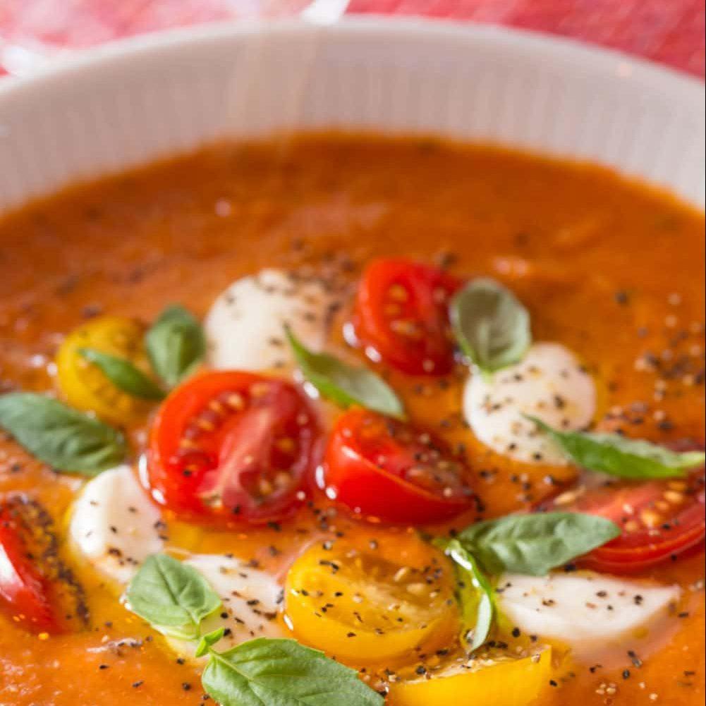 Roasted Tomato Lentil Soup Caprese