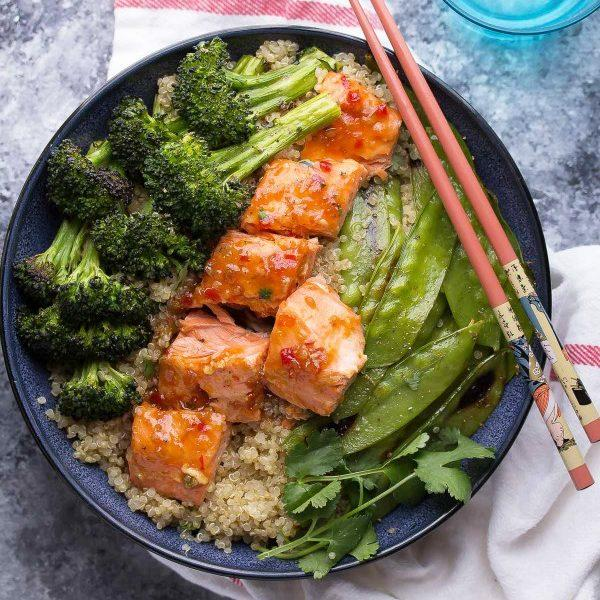 Sweet Chili Salmon & Broccoli Quinoa Bowl