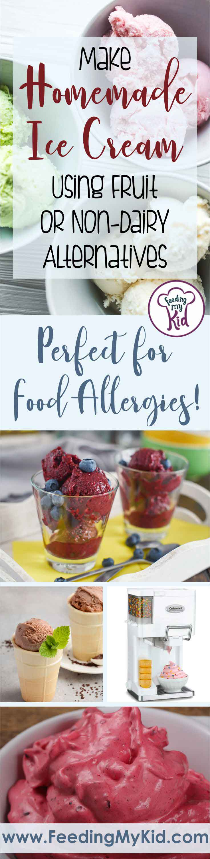 Homemade ice cream is a sure way to avoid ingredients that might spur an allergy attack. Use any fruit and dairy-free alternatives that you love!