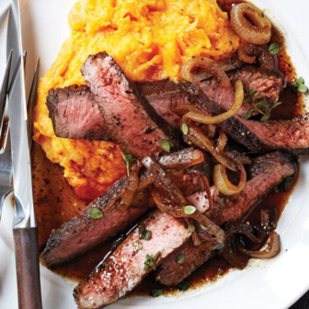 Balsamic-Glazed Sirloin with Rustic Sweet Potato Mash