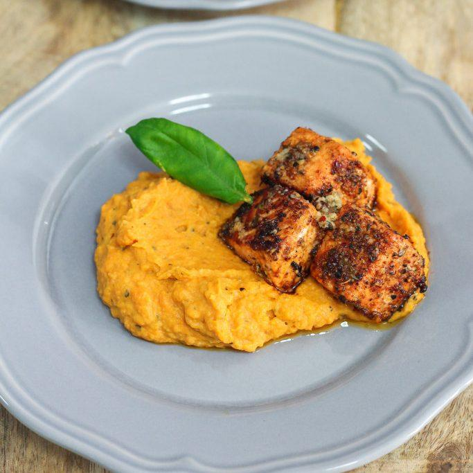Salmon with Lemon Herb Butter and Garlic Mashed Sweet Potatoes