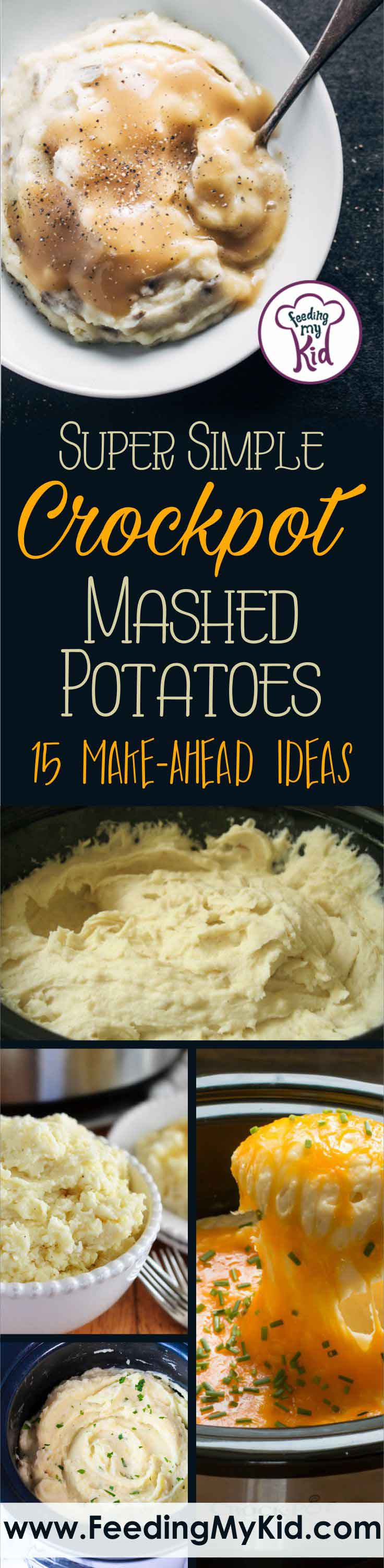 These crock pot mashed potatoes are so easy! Peel, place, and cook in the morning; they'll be ready by dinner time. Gotta love a crock pot!