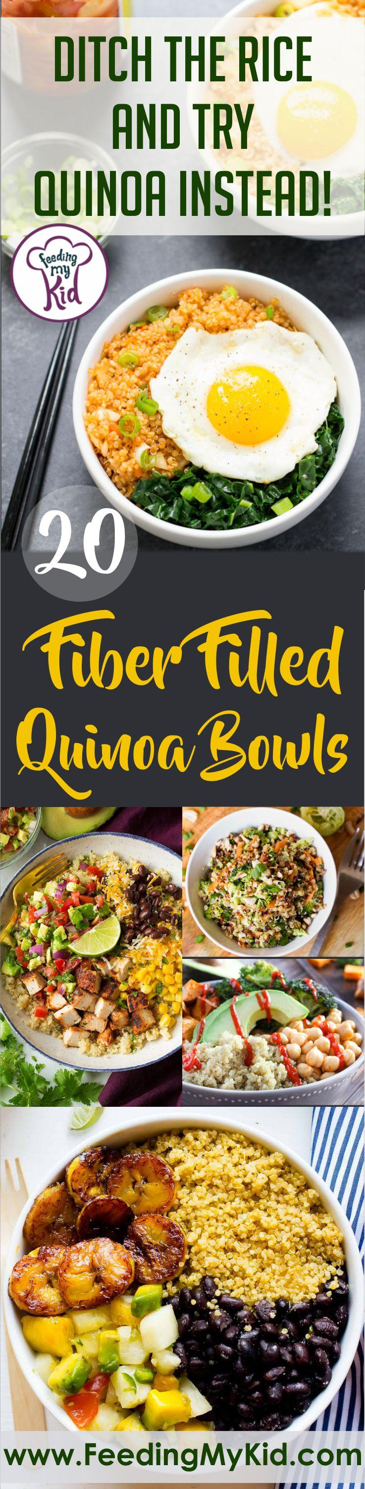 Ditch the rice and try quinoa instead! These quinoa bowl recipes are filled with fiber and healthy carbs. Plus, they taste amazing.